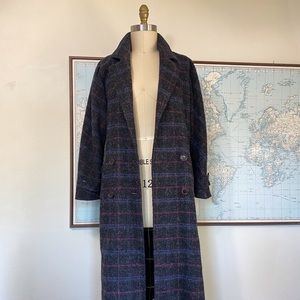 Vintage Wool Plaid Double Breasted Trench Coat